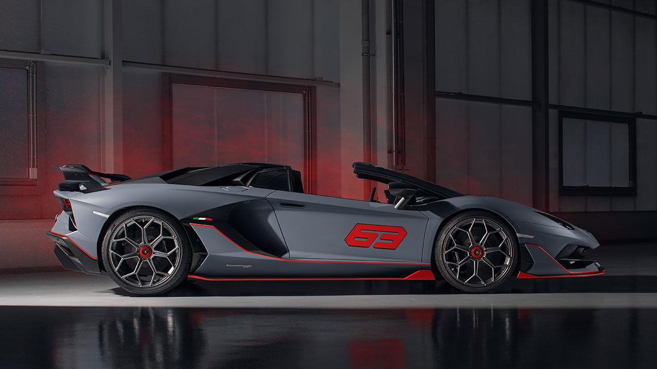 Lamborghini Aventador SVJ Roadster - Seitenansicht in Grau