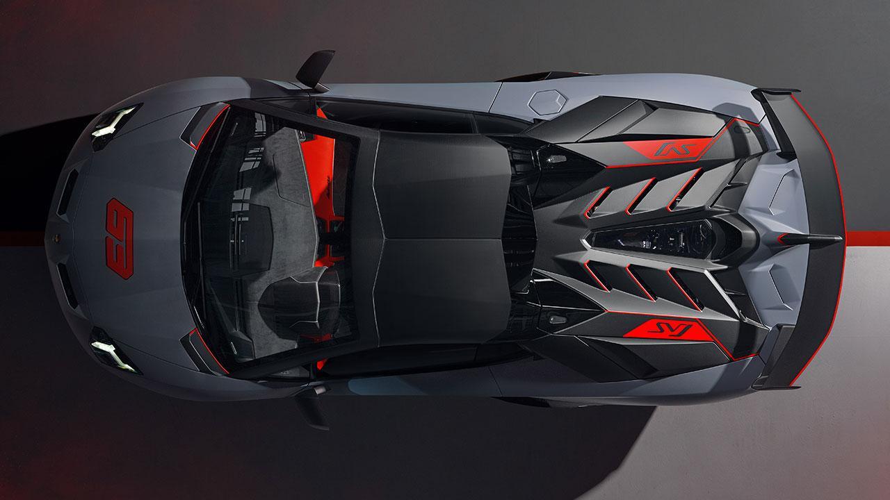 Lamborghini Aventador SVJ Roadster - Vogelperspektive in Grau