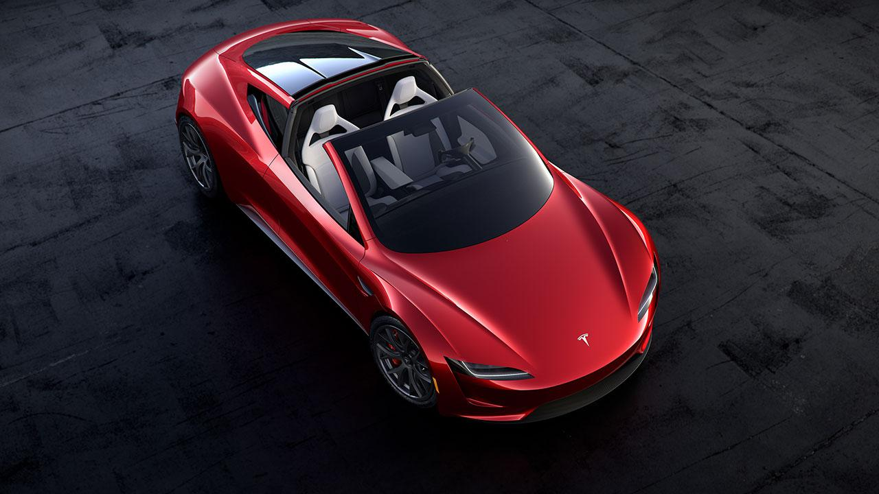 Tesla Roadster - Vogelperspektive mit offenem Verdeck