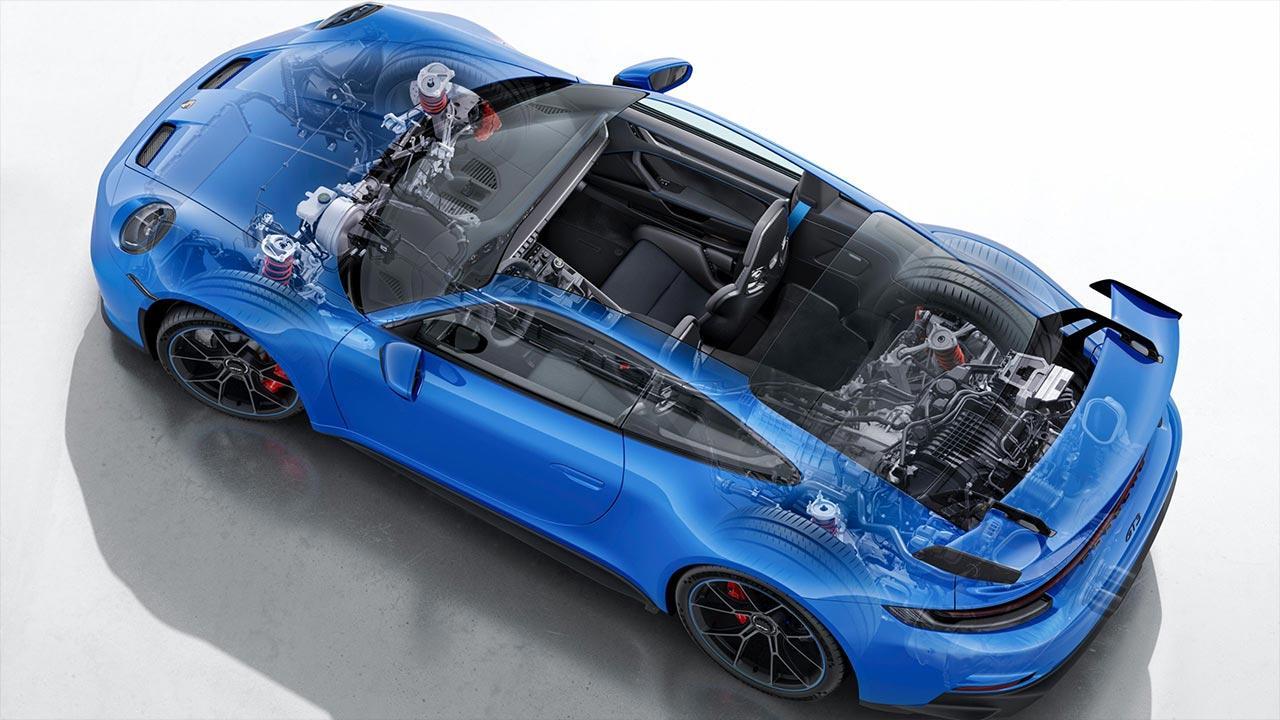 Weltpremiere des neuen Porsche 911 GT3 - Vogelperspektive mit Motoransicht