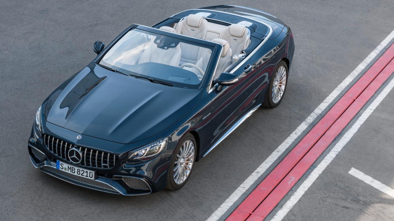 Mercedes-AMG S 65 Cabrio - Vogelansicht mit offenem Verdeck
